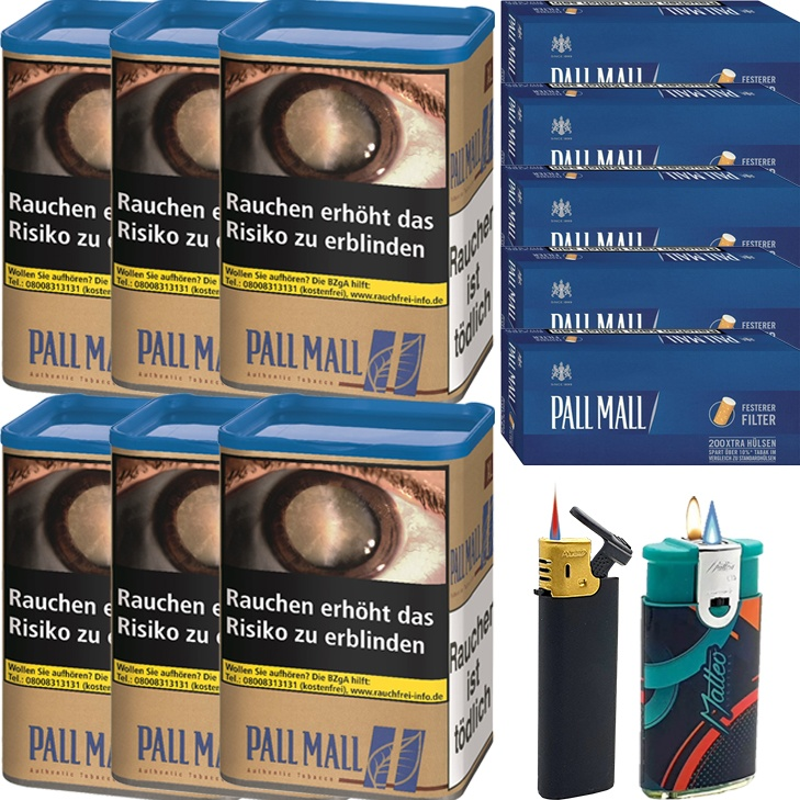 Pall Mall Authentic Blue 6 x 55g mit 1000 Extra Size Hülsen