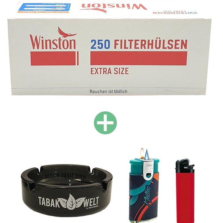 Winston Extra Filterhülsen 16 x 250er mit Glasaschenbecher