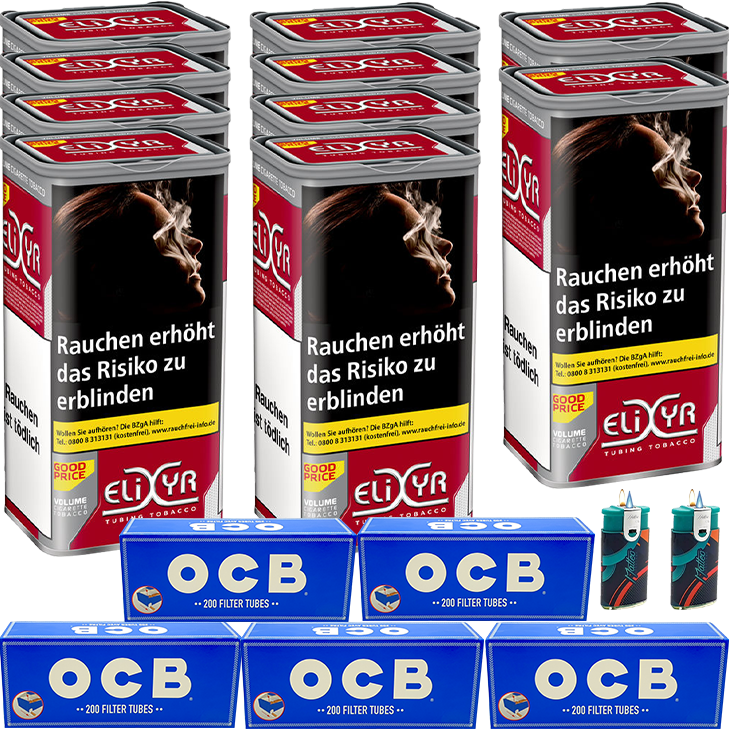 Elixyr Red 10 x 130g mit 1000 OCB King Size Hülsen