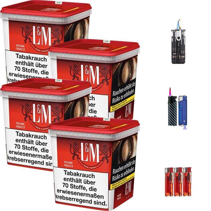 L&M Red Super Box 4 x 260g Volumentabak Feuerzeug Set