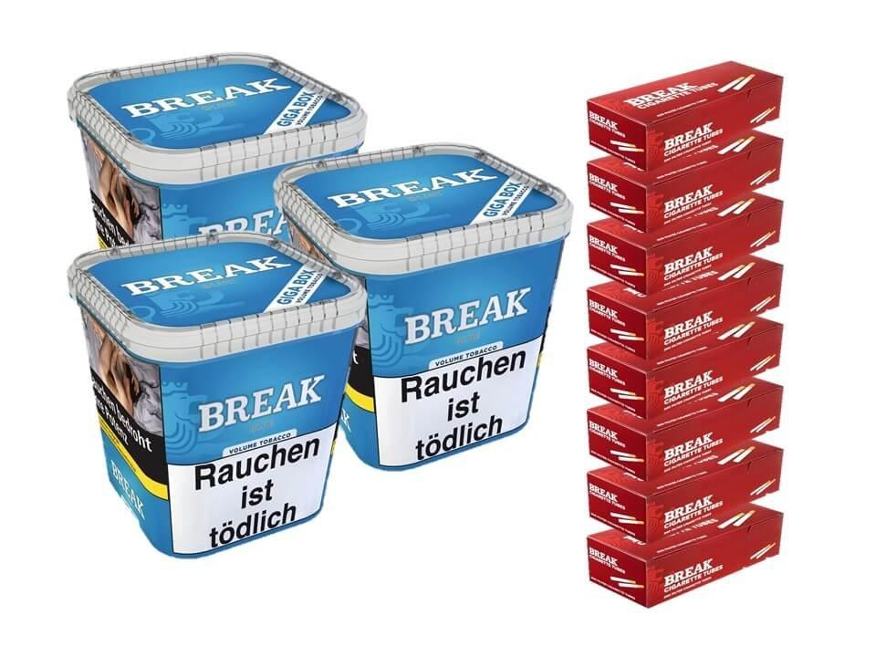 Break Blue / Blau 3 x 230g Volumentabak 1600 Break Filterhülsen