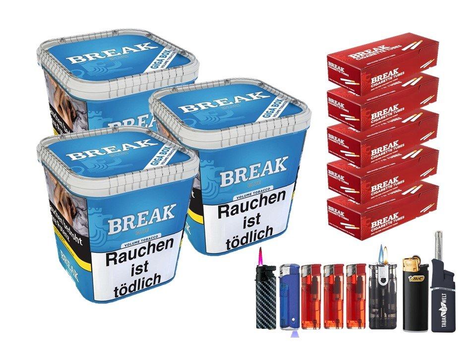 Break Blue / Blau 3 x 230g Volumentabak 1000 Break Filterhülsen Uvm.