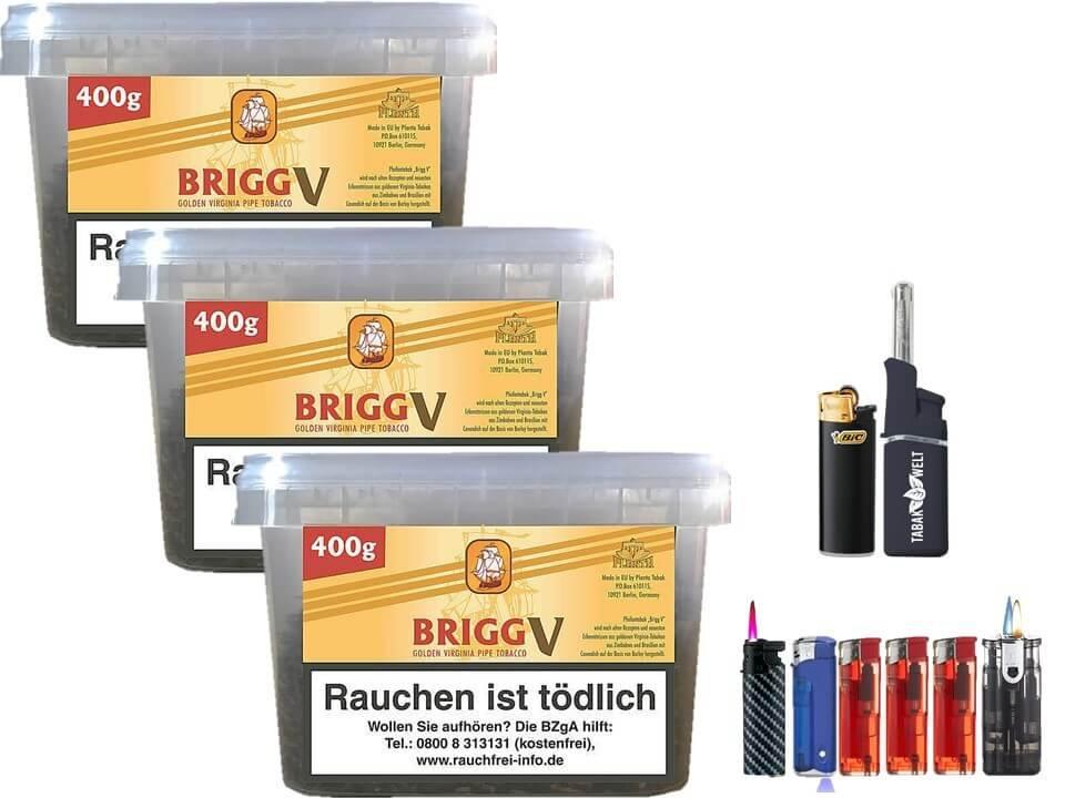 Brigg Vanilla 3 x 400g Pfeifentabak Feuerzeug Set