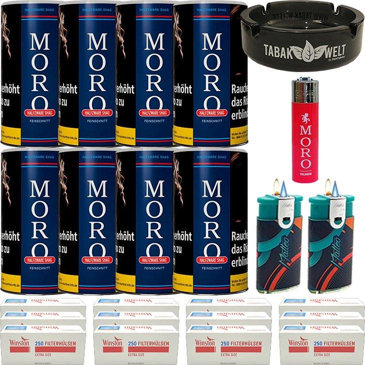 Moro Blau Feinschnittabak 8 x 180g mit 3000 Special Size Hülsen