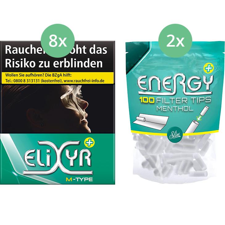 Elixyr Plus Zigaretten 8 x 25 + 200 Energy Menthol Filter Tips