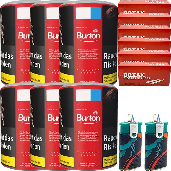 Burton Original 6 x 120g Feinschnitt Tabak 1200 King Size Filterhülsen Uvm.