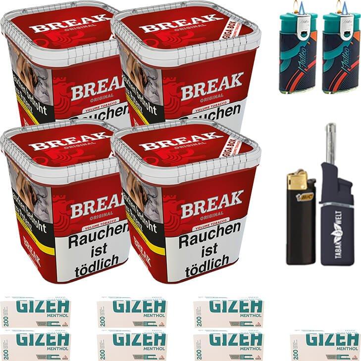 Break Original 4 x 230g mit 1400 Menthol Hülsen
