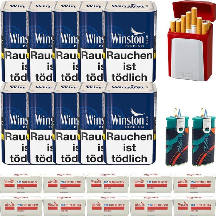 Winston Premium Blue 10 x 90g mit 2000 King Size Hülsen