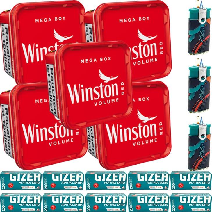 Winston Mega Box 5 x 155g mit 2000 Menthol Special Size Hülsen