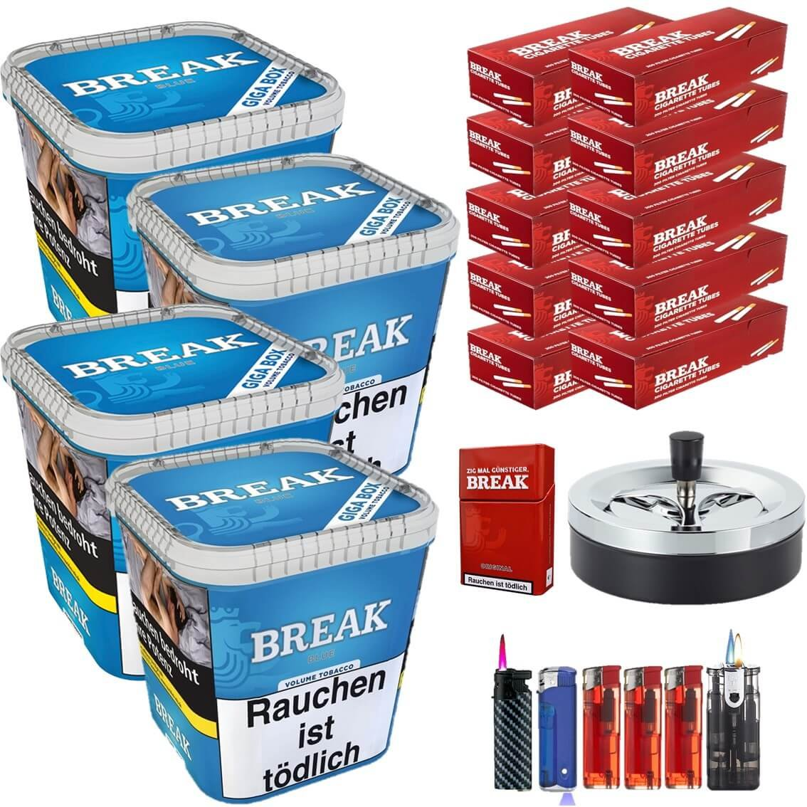 Break Blue / Blau 4 x 230g Volumentabak 2000 Break King Size Filterhülsen Uvm.