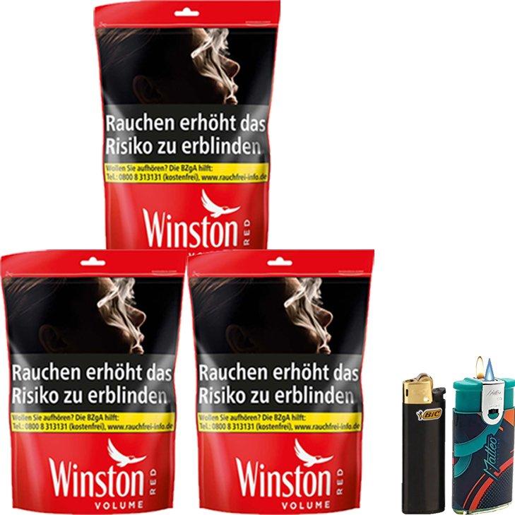 Winston Red 3 x 125g mit Feuerzeuge