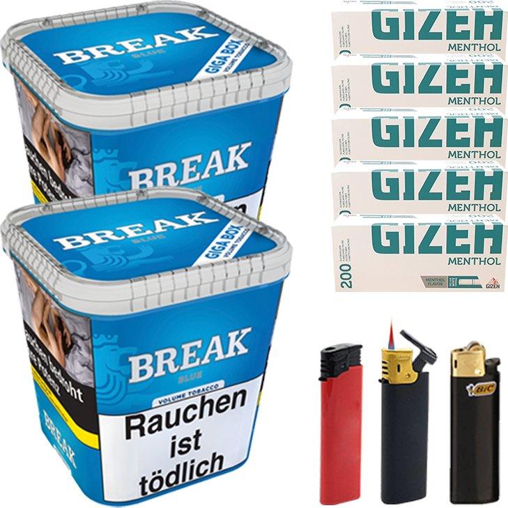 Break Blue 2 x 230g mit 1000 Menthol Hülsen