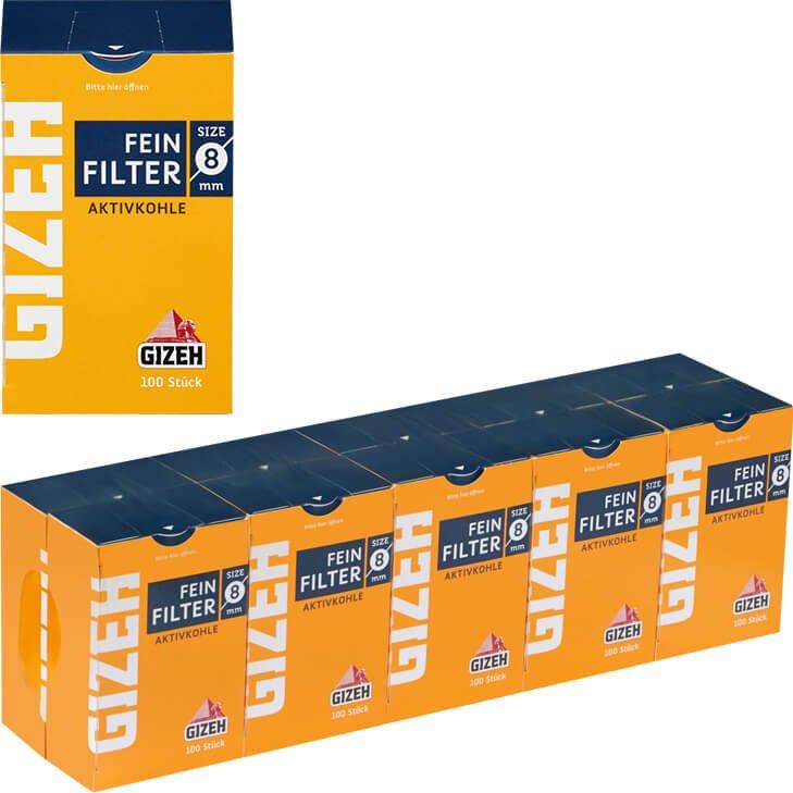 Gizeh Aktivkohlefilter 8 mm 10 x 100 Stück