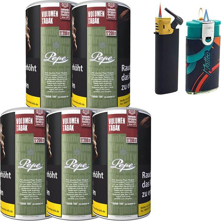 Pepe Rich Green 5 x 85g mit Feuerzeugen