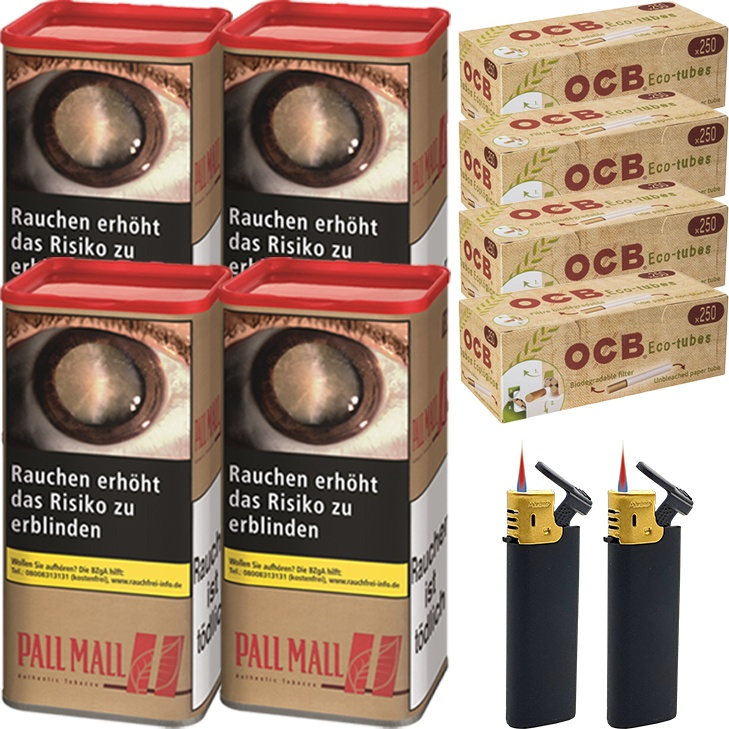 Pall Mall Authentic Red 4 x 95g mit 1000 King Size Hülsen