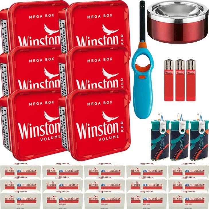 Winston Mega Box 6 x 155g mit 3000 King Size Hülsen
