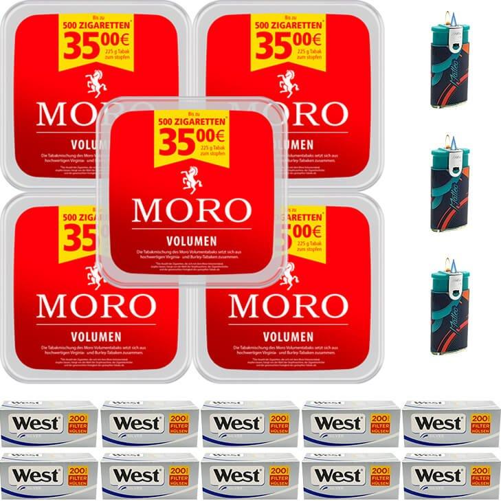 Moro Volumen 5 x 225g mit 2000 Silver King Size Hülsen