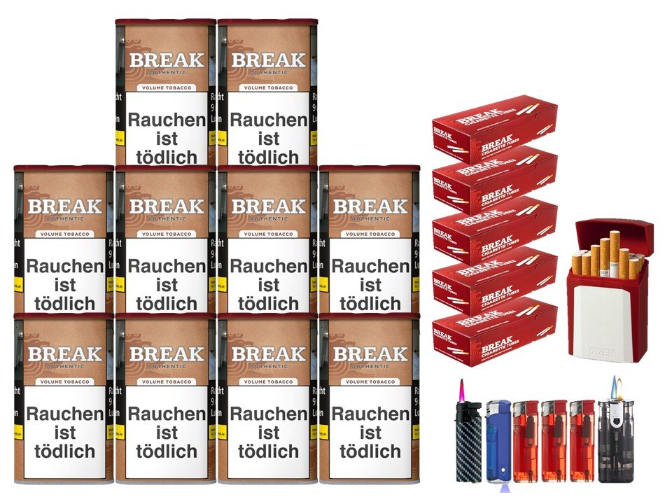 Break Authentic 10 x 75g Volumentabak 1000 Break Filterhülsen Uvm.