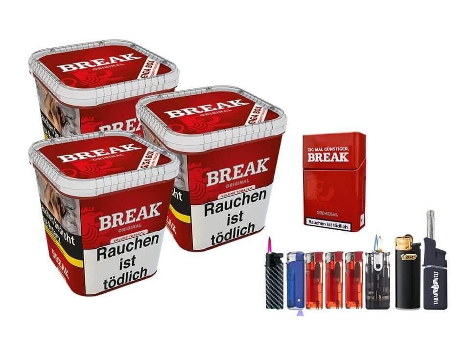 Break Original 3 x 230g Volumentabak Feuerzeug Set Uvm.
