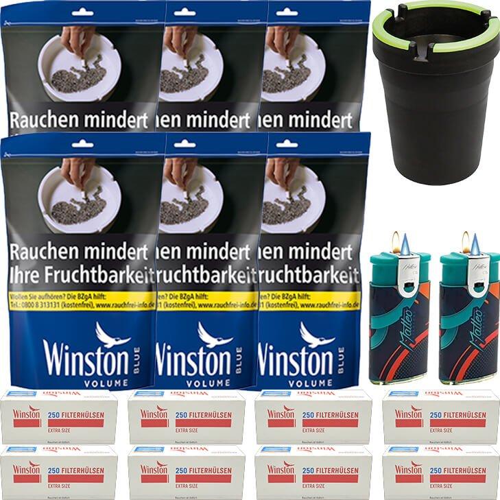 Winston Blue 6 x 125g mit 2000 Extra Size Hülsen