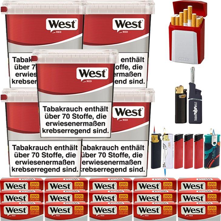 West Red 5 x 260g mit 3000 King Size Hülsen