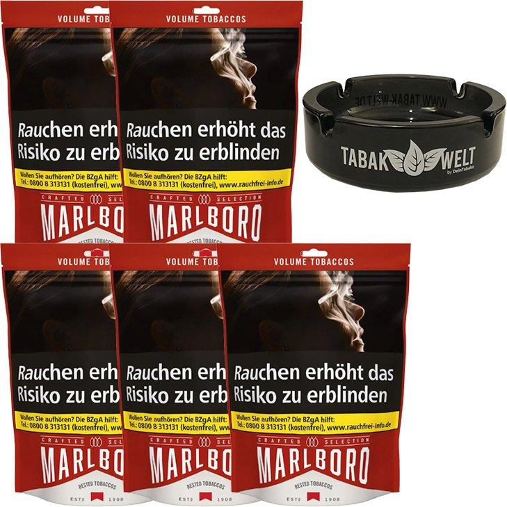 Marlboro Crafted Selection 5 x 130g mit Glasaschenbecher