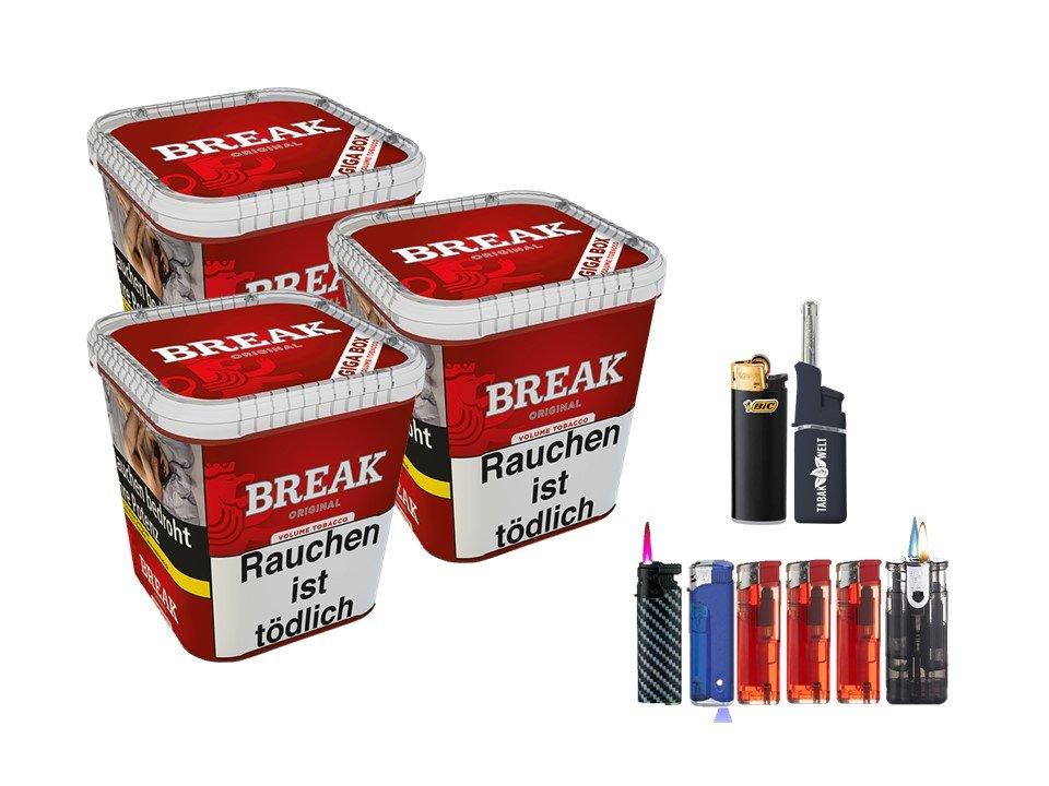 Break Original 3 x 230g Volumentabak Feuerzeug set