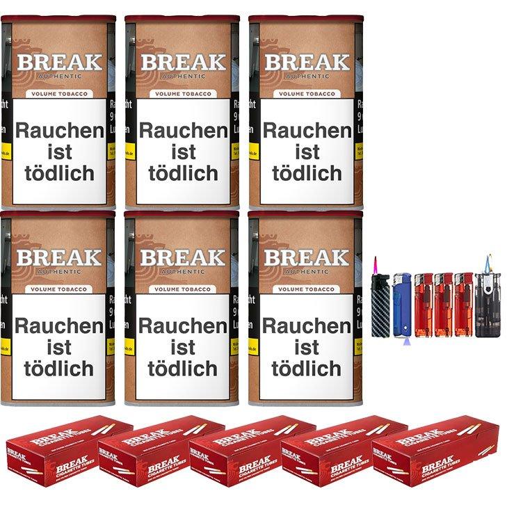 Break Authentic 6 x 75g Volumentabak 1000 Break Filterhülsen Uvm.