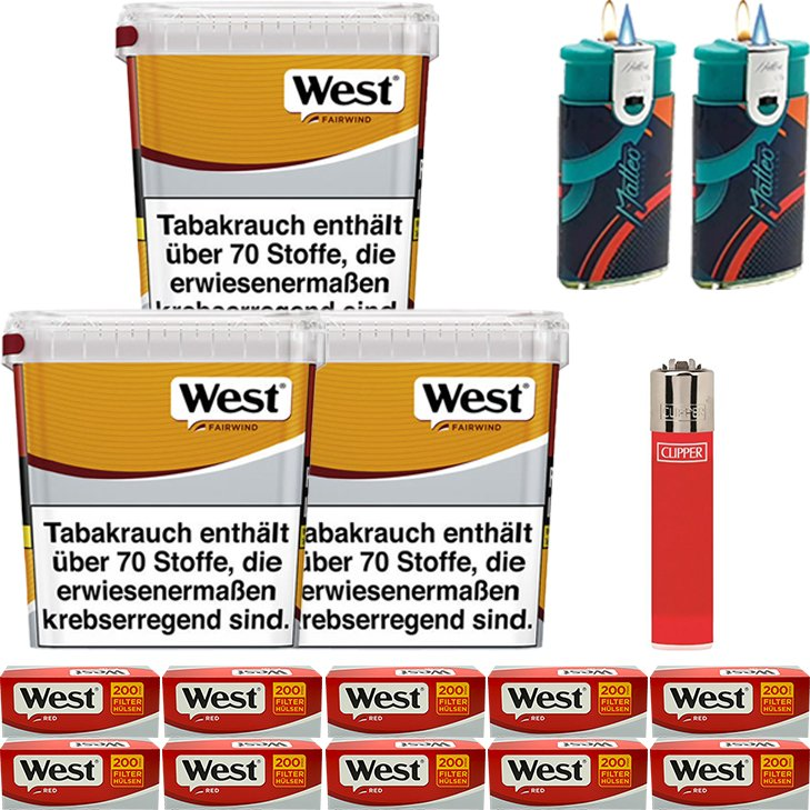 West Yellow Fairwind 3 x 310g mit 2000 King Size Hülsen