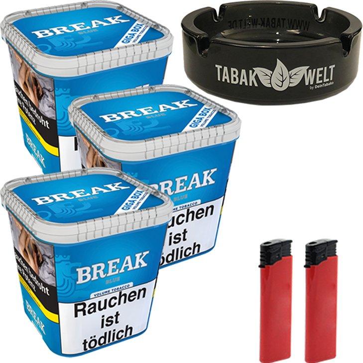 Break Blue 3 x 230g mit Glasaschenbecher