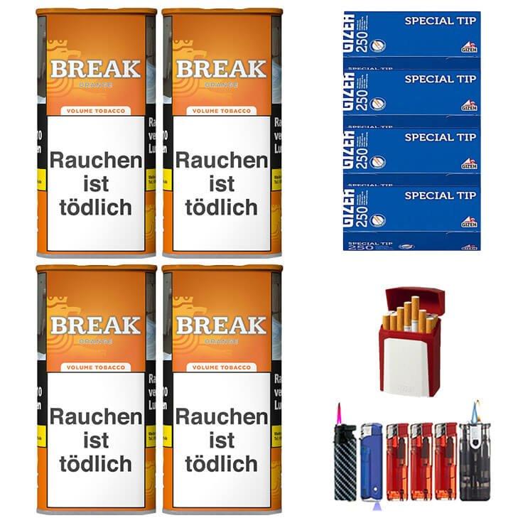 Break Orange 4 x 110g Volumentabak 1000 Gizeh Special Tip Filterhülsen Uvm.