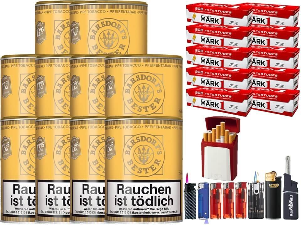 Barsdorf´s Bester Honey & Rum / Gold 10 x 160g Pfeifentabak 2000 Filterhülsen Uvm.