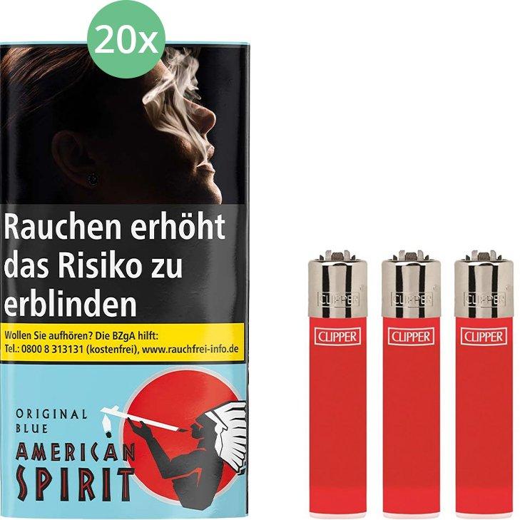 American Spirit Original Blue 20 x 30g mit Clipper Feuerzeugen