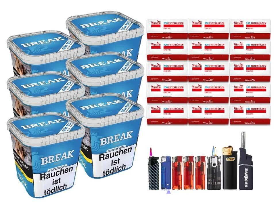 Break Blue / Blau 6 x 230g Volumentabak 3000 King Size Filterhülsen Uvm.