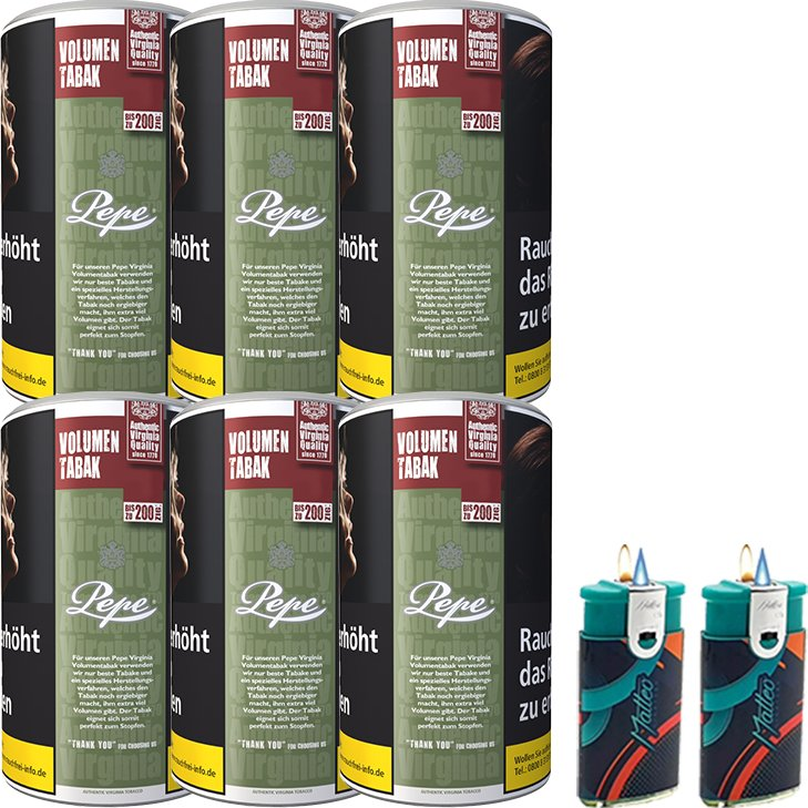 Pepe Rich Green 6 x 85g mit Feuerzeugen