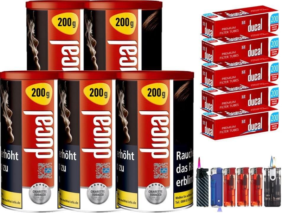 Ducal Red / Rot 5 x 200g Feinschnitt / Zigarettentabak 1000 Filterhülsen Uvm.