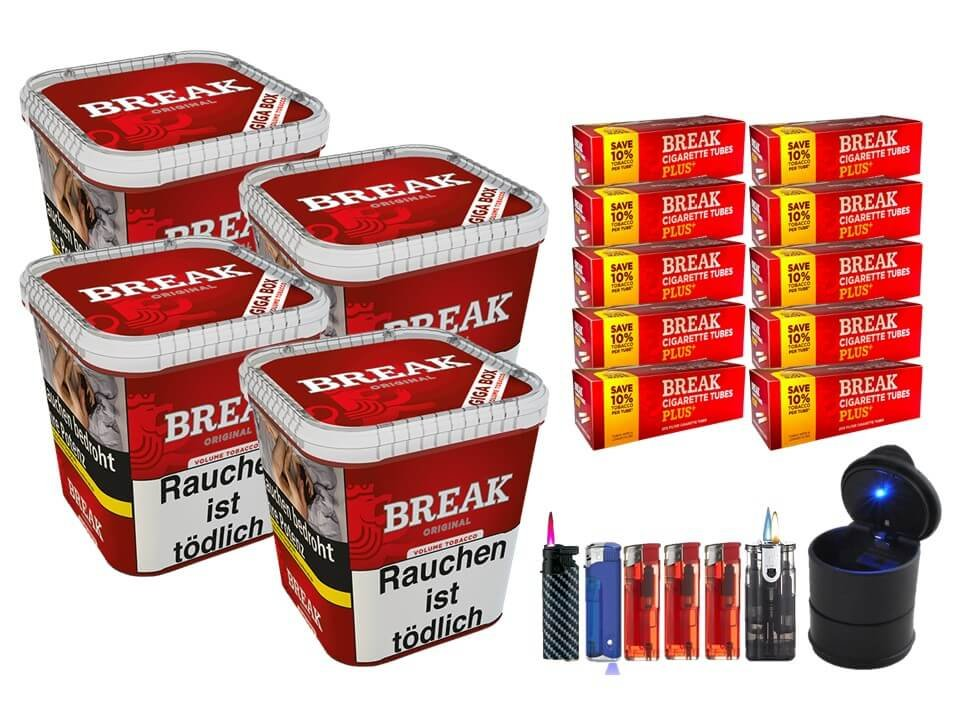 Break Original 4 x 230g Volumentabak 2000 Break Xtra Plus Filterhülsen Uvm.