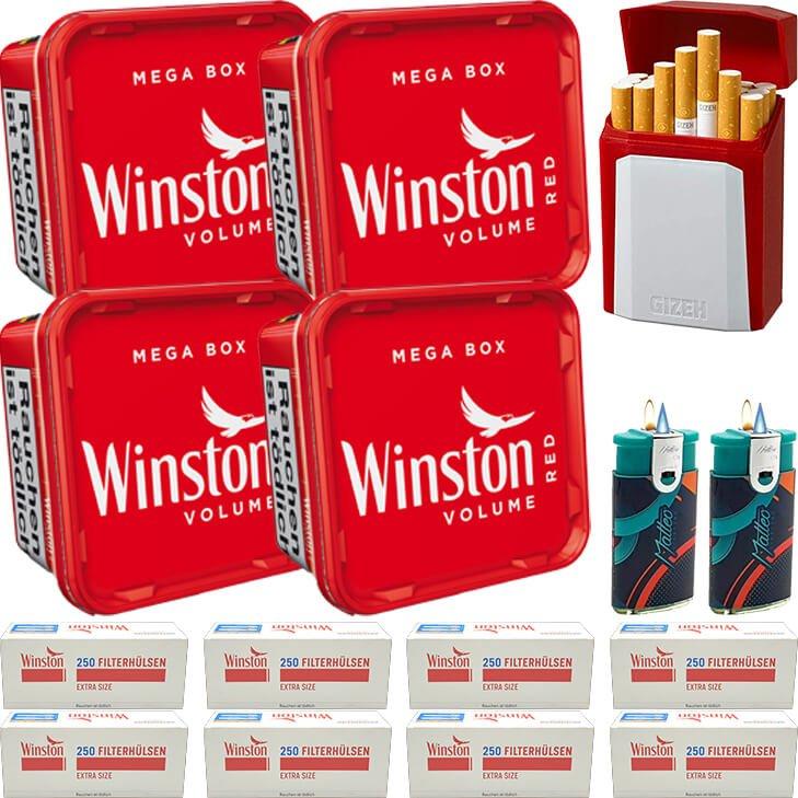 Winston Mega Box 4 x 155g mit 2000 Extra Size Hülsen