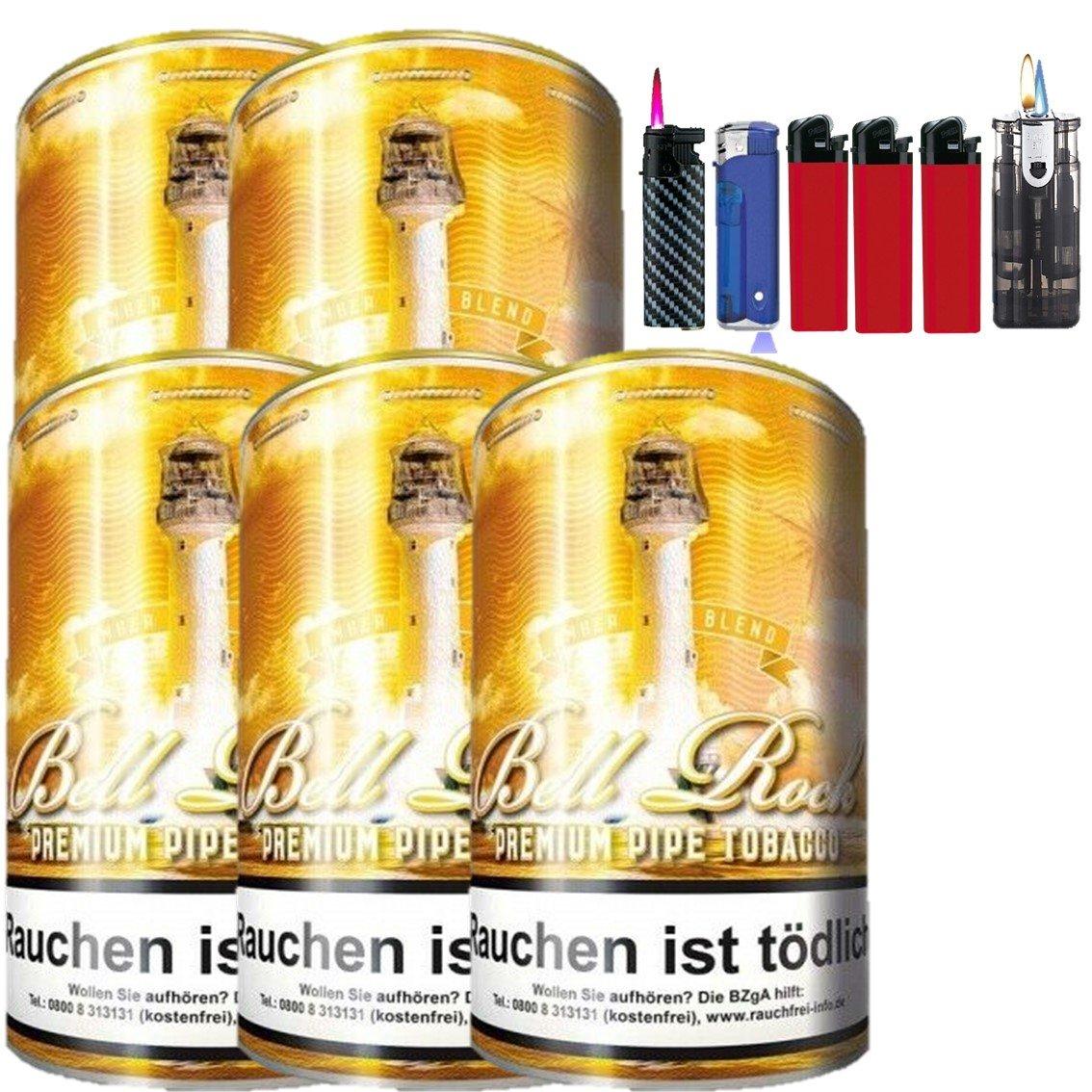 Bell Rock Amber Blend 5 x 160g Pfeifentabak Feuerzeug Set