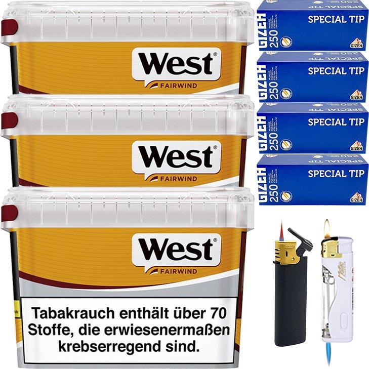 West Yellow Fairwind 3 x 185g mit 1000 King Size Hülsen