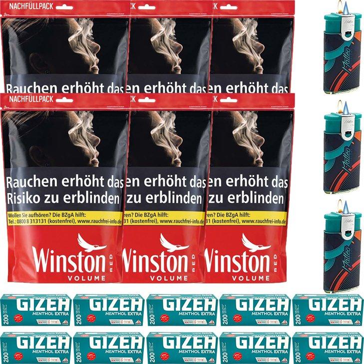 Winston Red 6 x 125g mit 2000 Menthol Special Size Hülsen