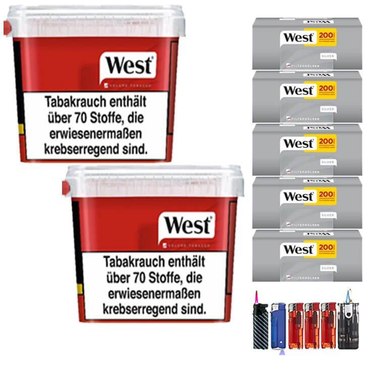 West Red 2 x 280g mit 1000 Silver King Size Hülsen