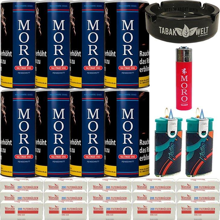 Moro Blau Feinschnittabak 8 x 180g mit 3000 King Size Hülsen