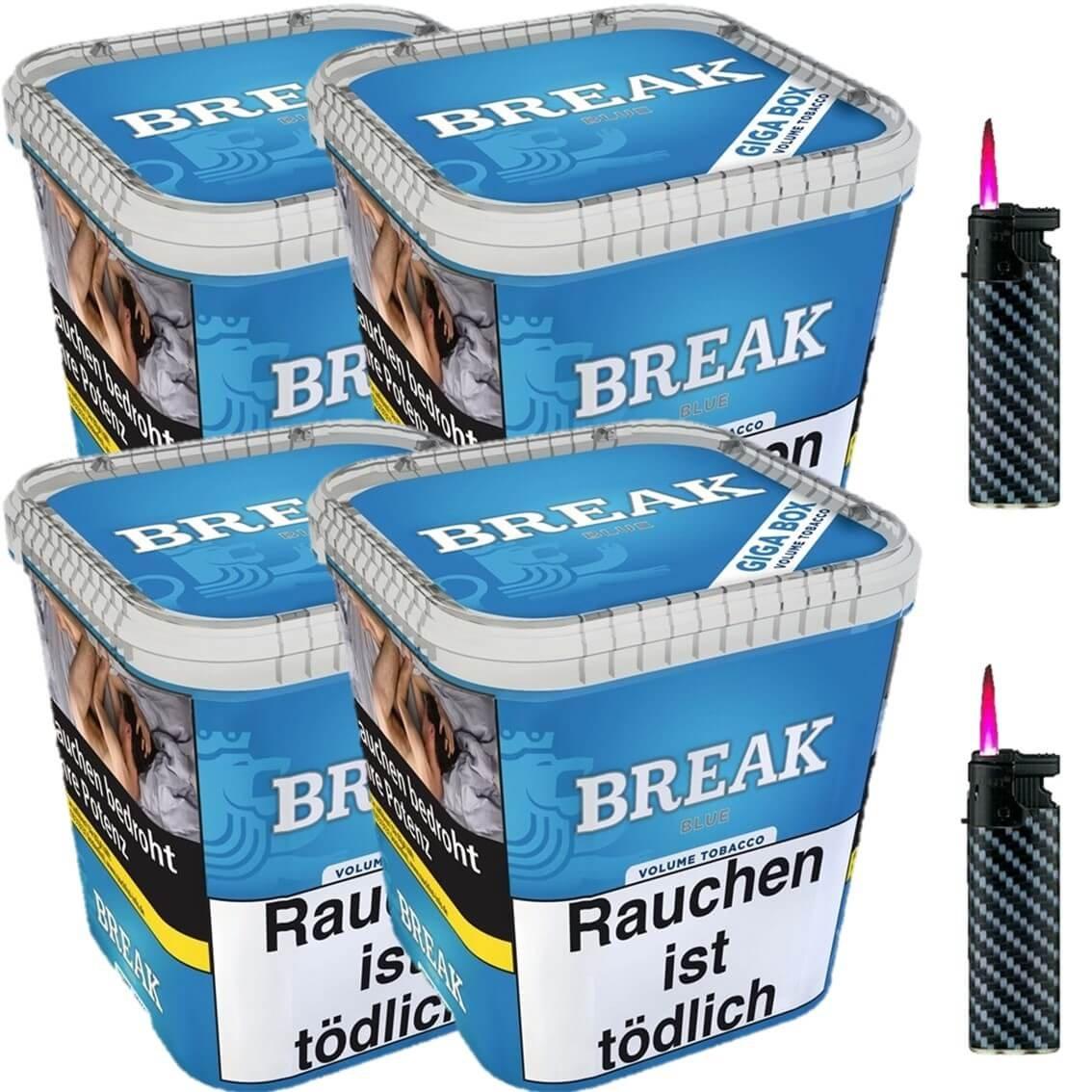 Break Blue / Blau 4 x 230g Volumentabak 2 x Sturmfeuerzeuge