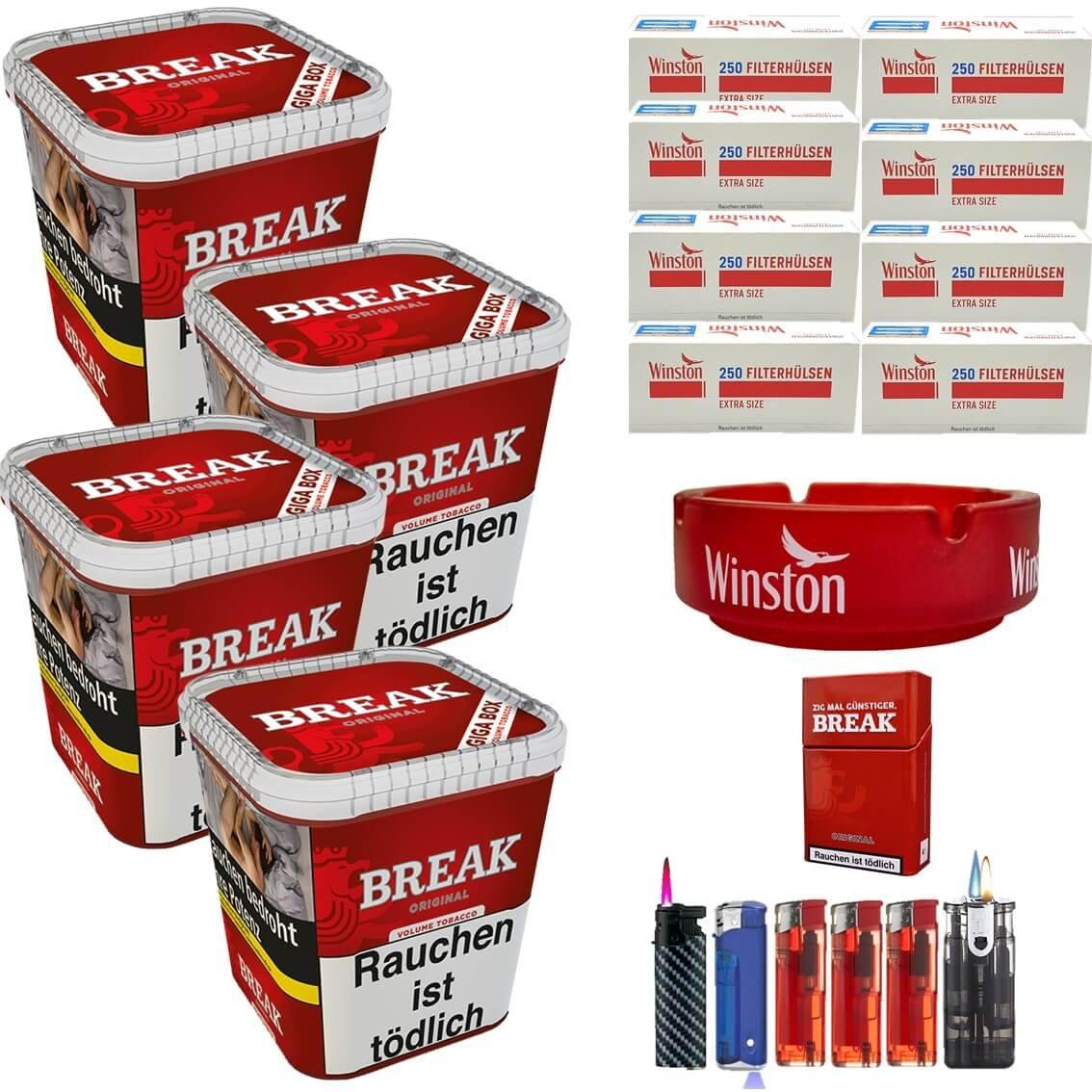 Break Original 4 x 230g Volumentabak 2000 Extra Size Filterhülsen Uvm.