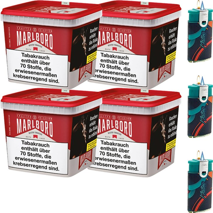 Marlboro Crafted Selection 4 x 300g mit Duo Feuerzeuge