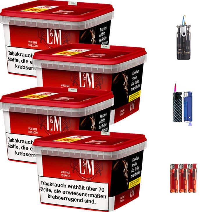 L&M Red Mega Box 4 x 155g Volumentabak Feuerzeug Set