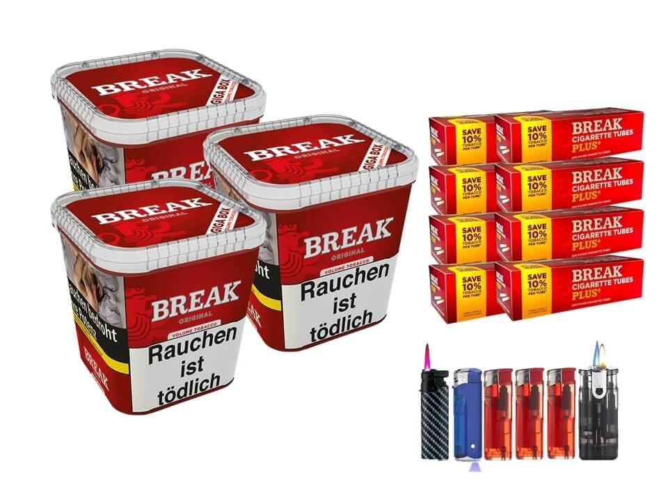 Break Original 3 x 230g Volumentabak 1600 Break Xtra Plus Filterhülsen Uvm.