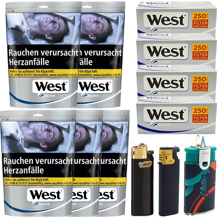 West Silver 5 x 96G mit 1000 Silver Extra Size Hülsen
