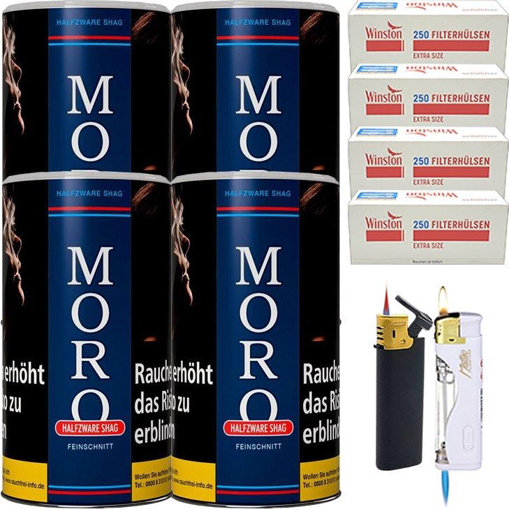 Moro Blau Feinschnittabak 4 x 180g mit 1000 Special Size Hülsen
